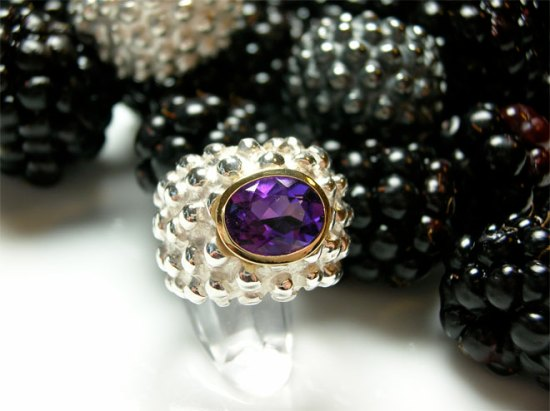 BlackBerry-Sterling-Silver-Amethyst-in-18ctgold-setting
