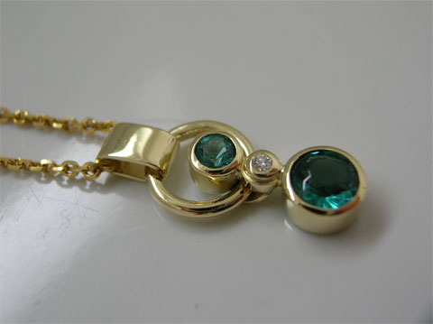 Petrol Tourmaline and Diamond Necklace